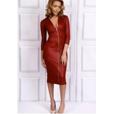 Sarvin Alisha Zip Pencil Red Dress