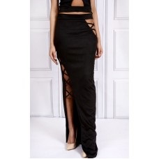 Sarvin Cut Out Maxi Long Skirt Black
