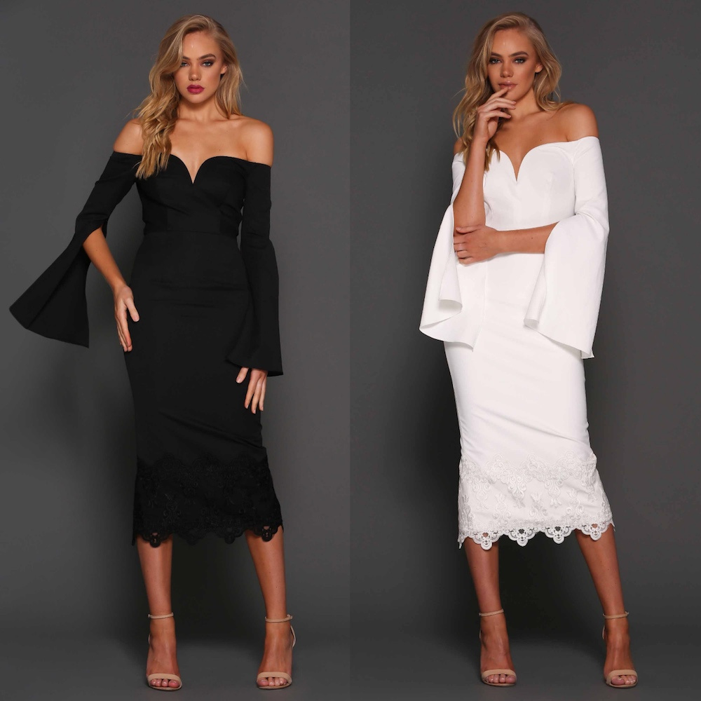 d5c5efd07904 ... Elle Zeitoune Bella Off The Shoulder Midi Lace Dress Black