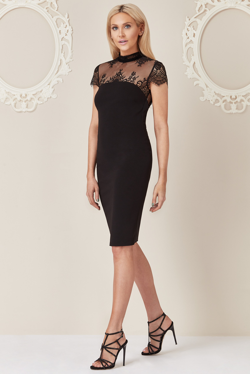 e0aa42b860b ... Stephanie Pratt For Goddiva Lace Back Dress Black ...