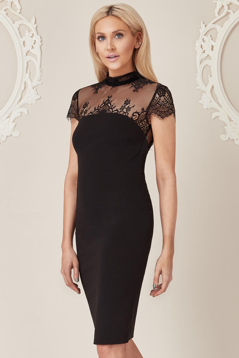 b05af9a9089 ... Stephanie Pratt For Goddiva Lace Back Dress Black