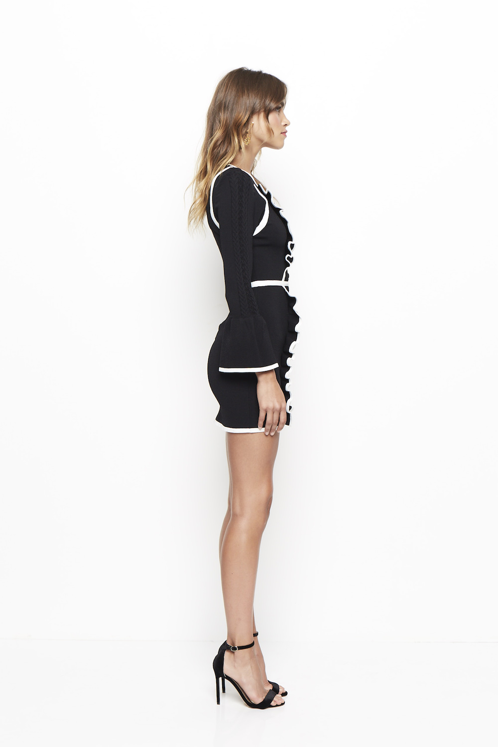 Alice Mccall Im Here Mini Dress Black Frill Knitwear Uk