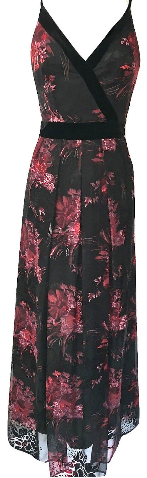 Karen Millen Devore Maxi Long Dress Floral Red Black Dx236