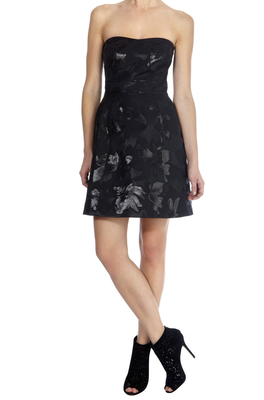 Karen Millen Metallic Jaquard Prom Dress Black