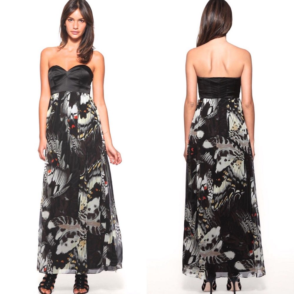 1e7e21ef8fa ... Karen Millen Butterfly Print Maxi Dress Black Multi ...