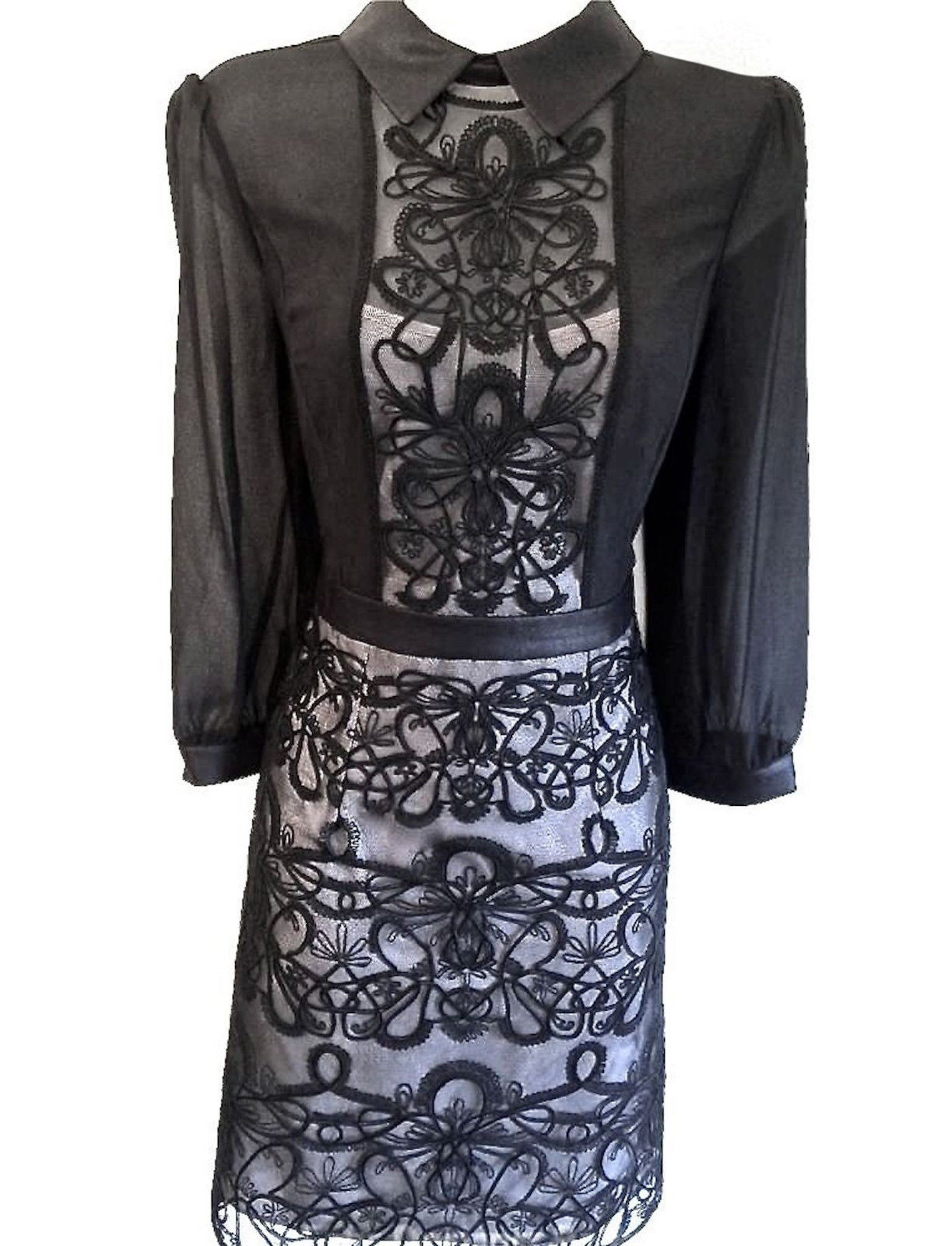 Dr karen millen graphic lace embroidery shirt dress black