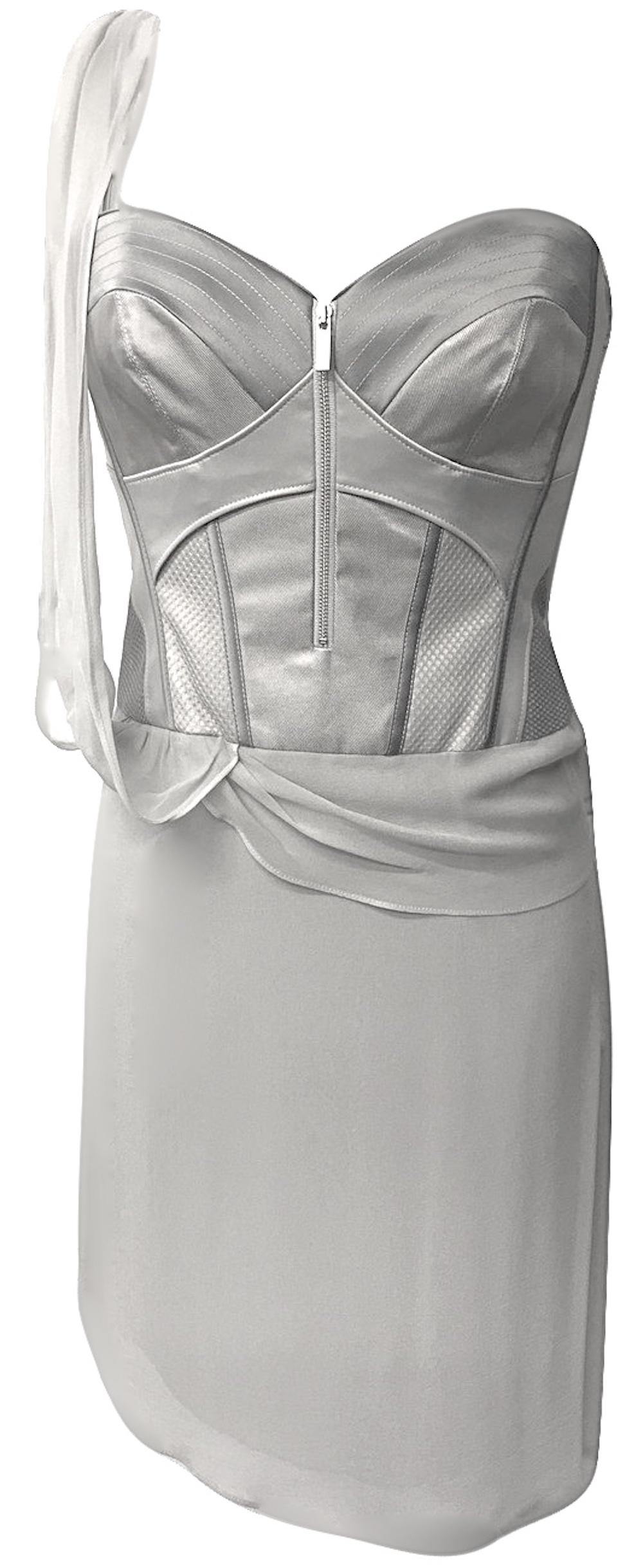 Karen-Millen-Grey Silk-Corset Dress