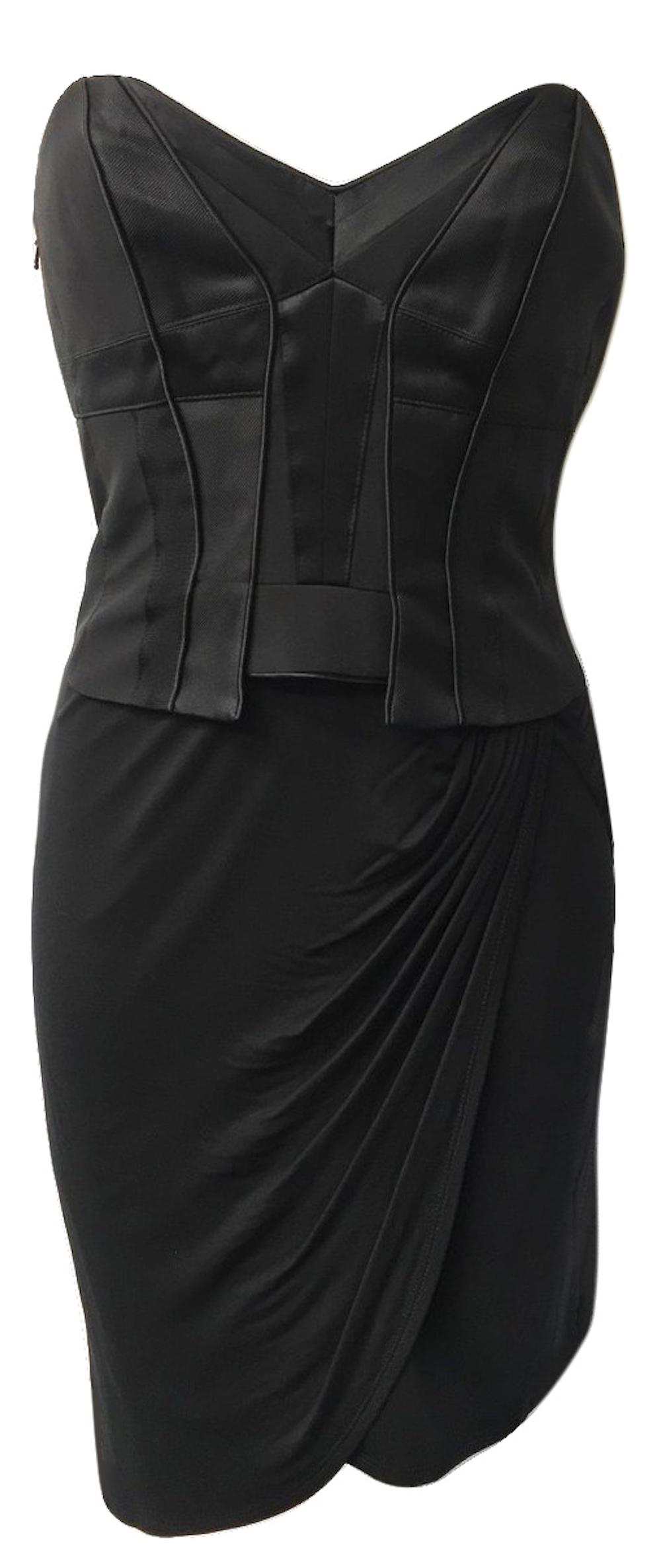 d77ac3a5f40 Karen Millen Jersey Draped Corset Dress Black ...