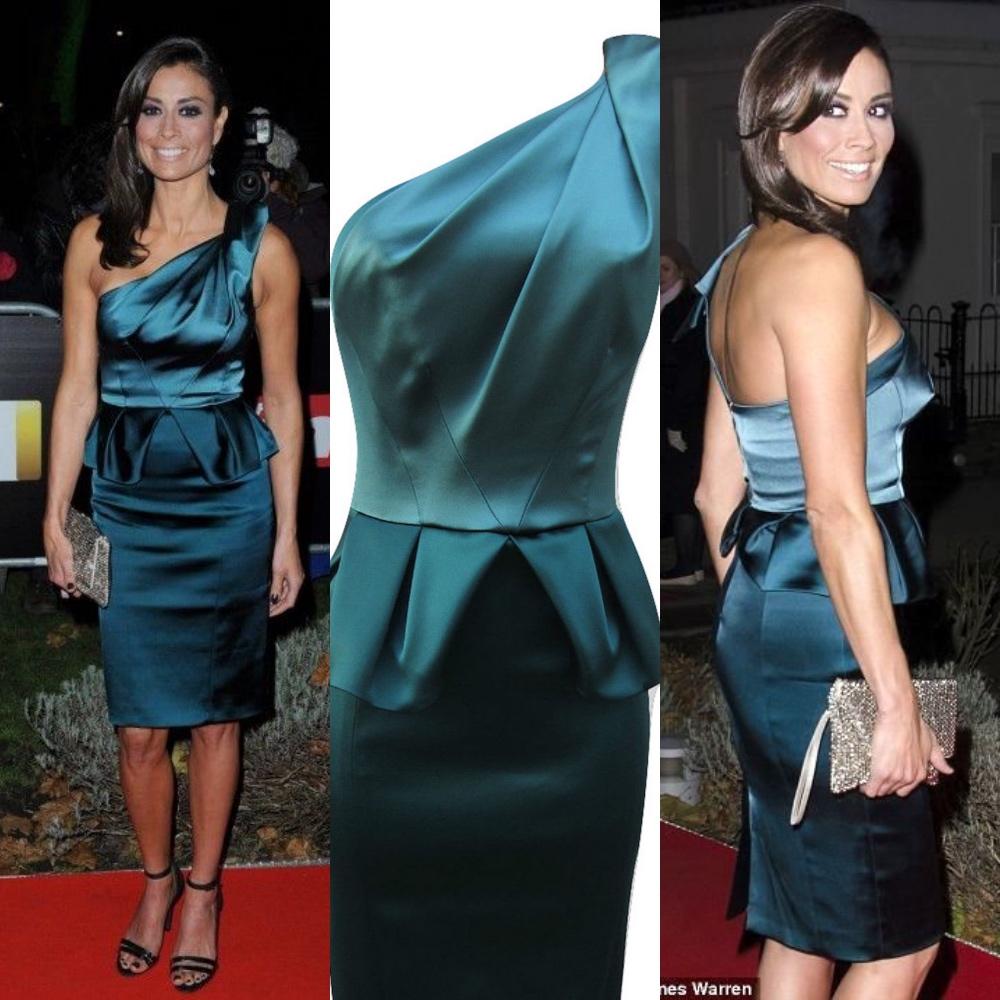 Karen Millen Signature Satin Teal Peplum One Shoulder Dress