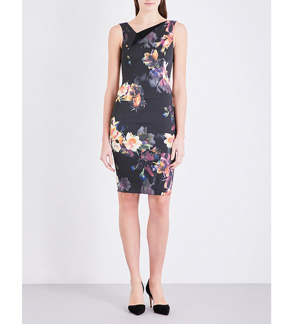 DZ090 Karen Millen Orchid Floral Print Dress Multi
