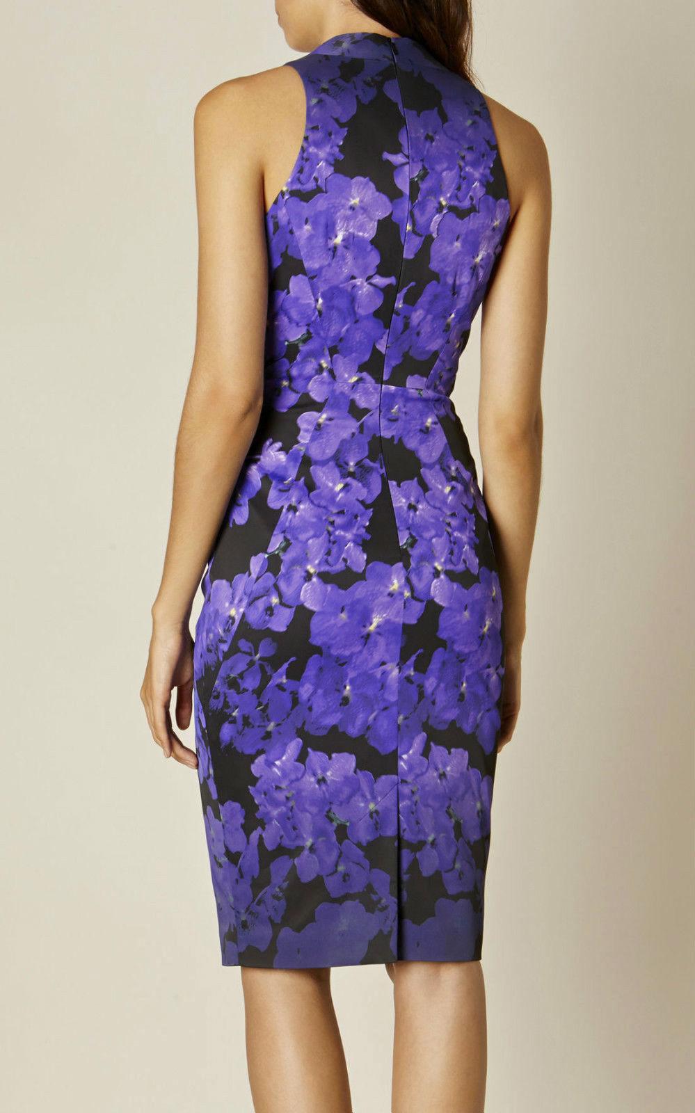 DZ163 Karen Millen Floral Print Satin Dress Purple