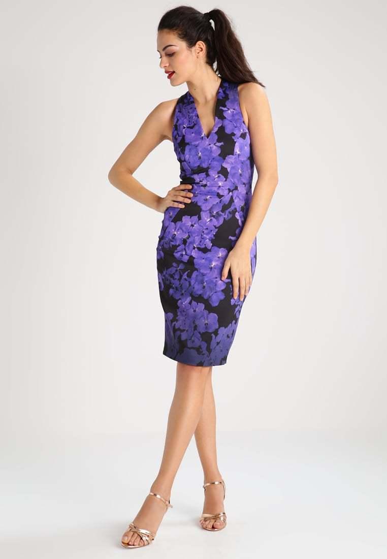 karen millen pencil dress in purple floral print