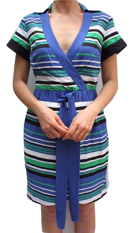Womens KAREN MILLEN Graphic Striped Shirt Dress Blue Green White Casual Summer