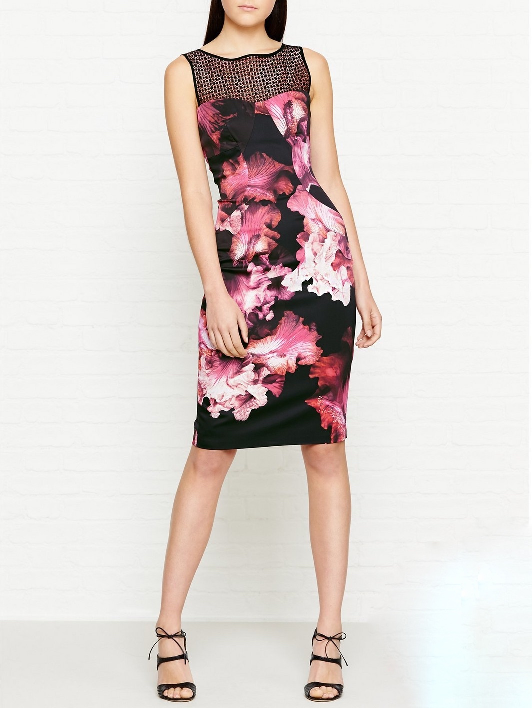 f7cf00b76f7 DZ096 Karen Millen Midnight Orchid Floral Print Dress Multi