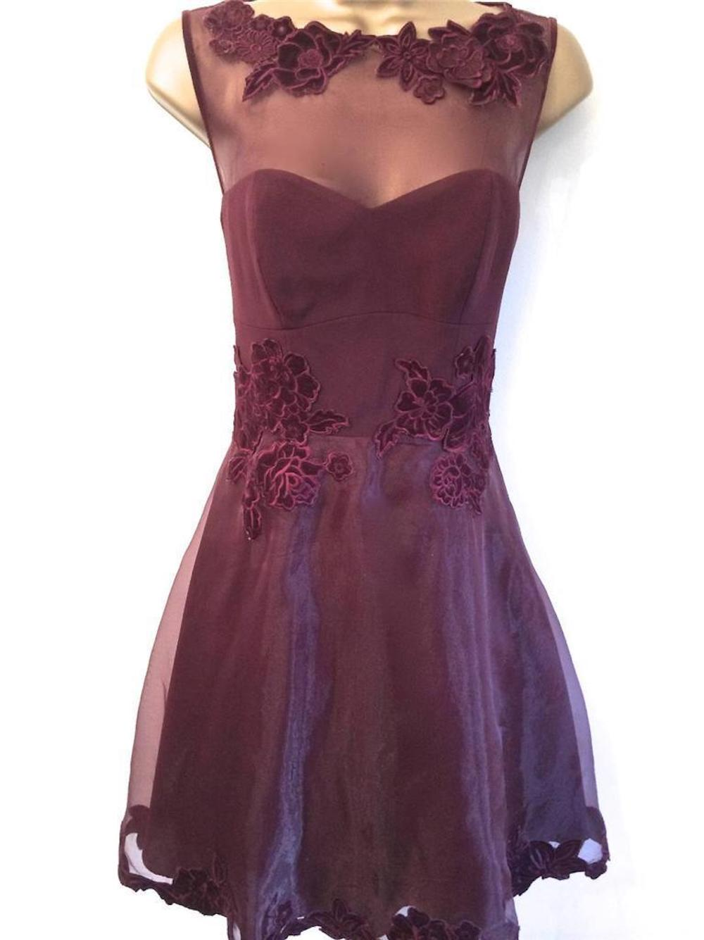 Dr148 Karen Millen Burgundy Velvet Applique Organza Prom Dress