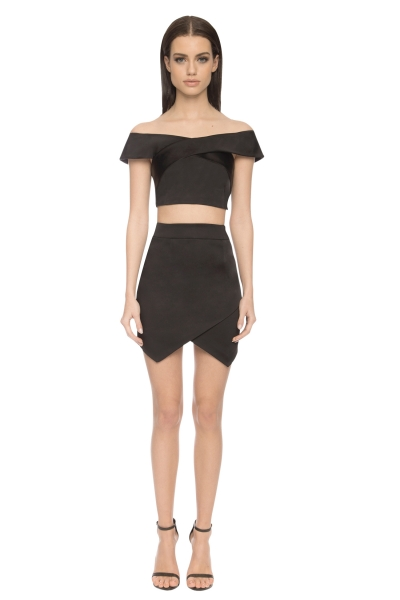 Aloura London Bloomsbury 2 Piece Skirt / Top Black
