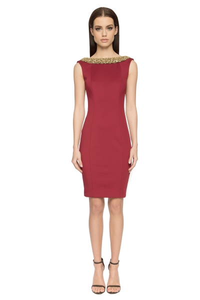 Aloura London Chelsea Neoprene Dress Red