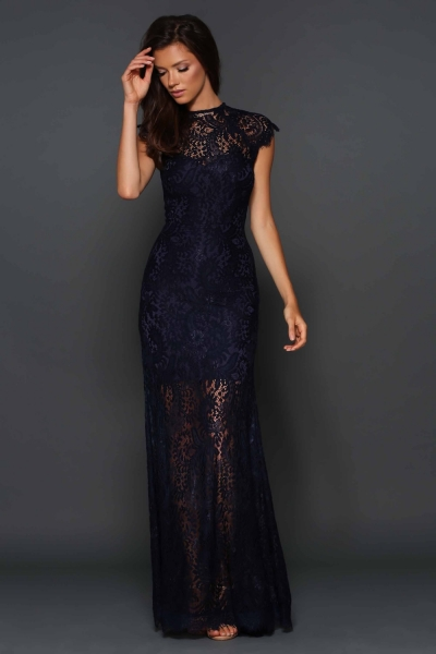Elle Zeitoune Navy Demi Long Lace Gown