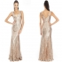 Goddiva Maxi Sequin Long Gown Gold