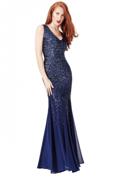 Goddiva Maxi Sequin Chiffon Long Dress Navy