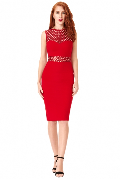 City Goddess Sequin Cut-out Bodycon Dress Red