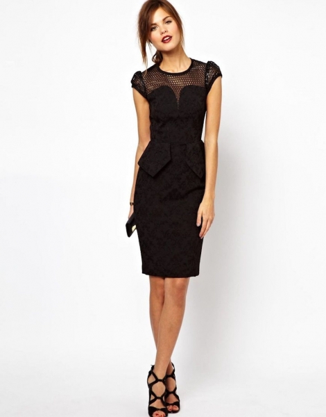 Karen Millen Brocade Pencil Dress Black