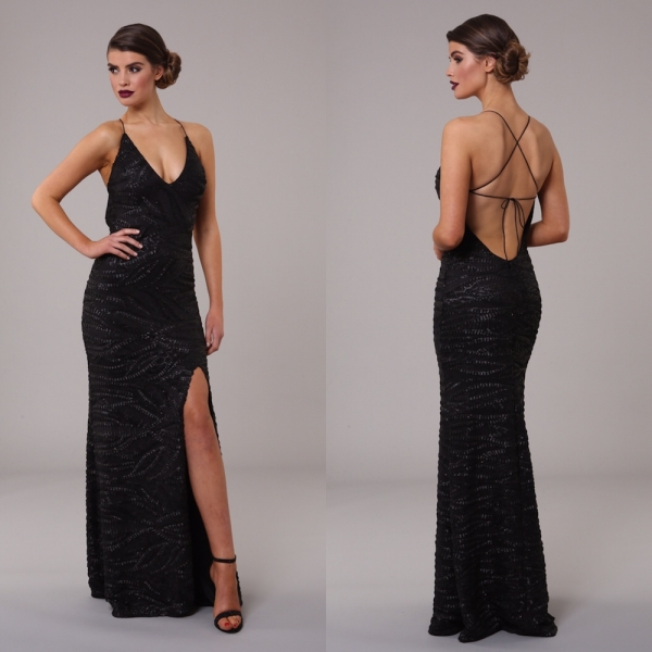 Honor Gold Luxe Gia Maxi Sequin Black Gown