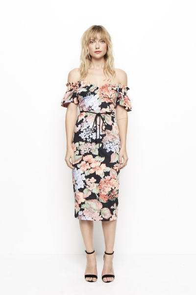 Alice McCall Ti Amo Black Floral Midi Dress