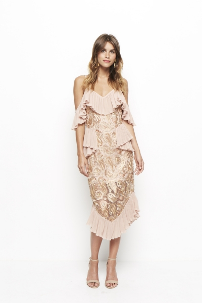 Alice McCall We Could Be Friends Dress Rose Pink Gold