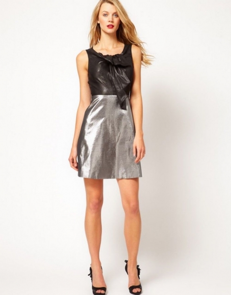 Karen Millen 60s Metallic Sheer Bow Dress Pewter Silver