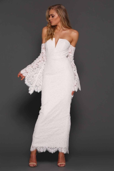 Elle Zeitoune Sherman Long Bell Sleeve lace Gown White