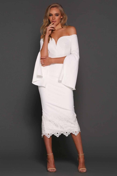 Elle Zeitoune Bella Off The Shoulder Midi Dress White