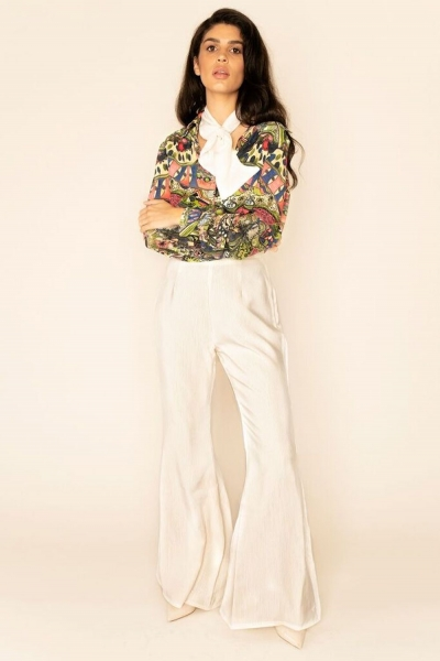 Sarvin Callie Ivory Flared Trousers