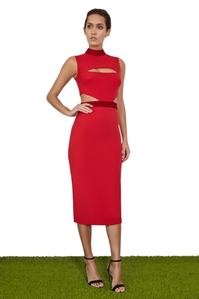 Joe's Jungle Macy Midi Dress Red