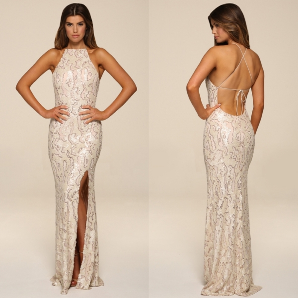 Honor Gold Luxe Harley Sequin Gown Pearl